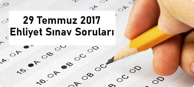 29 Temmuz 2017 Ehliyet Sınav Soruları