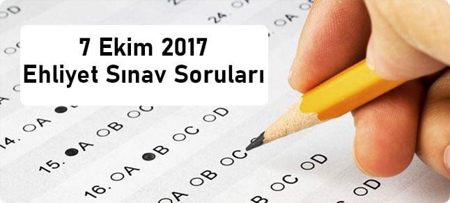 7 Ekim 2017 Ehliyet Sınav Soruları