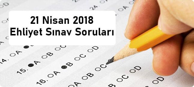 21 nisan 2018 ehliyet sınav soruları ve cevap anahtarı